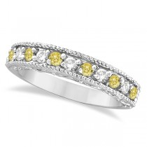 Fancy Yellow Canary & White Diamond Ring Anniversary Band 14k White Gold (0.30ct)
