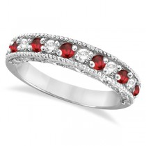 Diamond and Ruby Ring Anniversary Band 14k White Gold (0.59ct)
