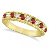 Diamond and Ruby Ring Anniversary Band 14k Yellow Gold (0.59ct)