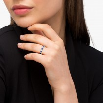 Blue Sapphire & Diamond Eternity Ring Band 14k White Gold (1.07ct)