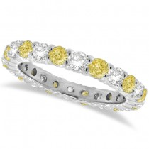 Fancy Yellow Canary & White Diamond Eternity Band 14k Gold (1.07ct)