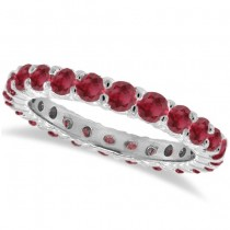Prong-Set Ruby Eternity Ring Band 14k White Gold (1.07ct)