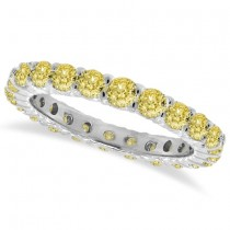 Fancy Yellow Canary Diamond Eternity Ring Band 14k White Gold (1.07 ctw)