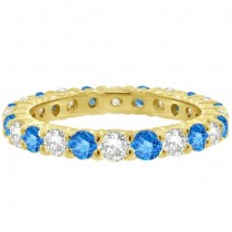 Fancy Blue & White Diamond Eternity Ring Band 14k Yellow Gold (1.07ct)