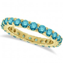 Fancy Blue Diamond Eternity Ring Band 14k Yellow Gold (1.07ct)