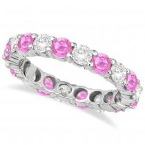Eternity Diamond & Pink Sapphire Ring Band 14k White Gold (3.50ct)