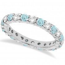 Eternity Diamond & Aquamarine Ring Band 14k White Gold (2.40ct)