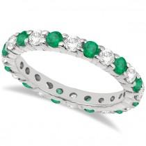 Eternity Diamond & Emerald Ring Band 14k White Gold (2.35ct)
