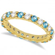 Eternity Diamond & Blue Topaz Ring Band 14k Yellow Gold (2.40ct)