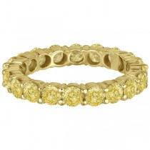 Fancy Canary Yellow Diamond Eternity Ring Band 18k Yellow Gold (3.00ct)