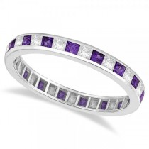 Princess-Cut Amethyst & Diamond Eternity Ring 14k White Gold (1.26ct)
