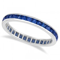 Princess-Cut Blue Sapphire Eternity Ring Band 14k White Gold (1.36ct)