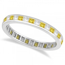 Princess-Cut Yellow & White Diamond Eternity Ring 14k White Gold (1.26ct)