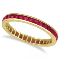 Princess-Cut Ruby Eternity Ring Band 14k Yellow Gold (1.20ct)