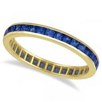 Princess-Cut Blue Sapphire Eternity Ring Band 14k Yellow Gold (1.36ct)
