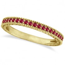 Ruby Stackable Ring Band Milgrain Edges 14k Yellow Gold (0.25ct)