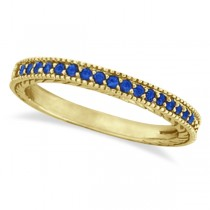 Blue Sapphire Stackable Ring Band With Milgrain Edges 14k Yellow Gold