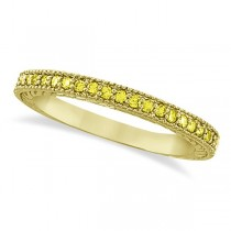 Fancy Yellow Canary Diamond Stackable Ring Band 14Kt Gold  (0.31ct)