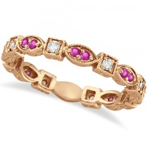 Pink Sapphire & Diamond Eternity Ring Band 14k Rose Gold (0.47ct)