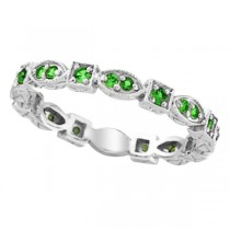 Emerald Eternity Stackable Ring Anniversary Band 14k White Gold (0.47ct)