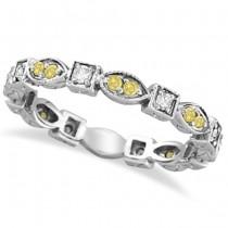 Yellow & White Diamond Eternity Antique Ring 14k White Gold (0.50ct)