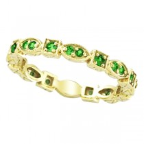Emerald Eternity Stackable Ring Anniversary Band 14k Yellow Gold (0.47ct)