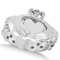 Classic Irish Claddagh Heart Celtic Ring Swirl Band 14k White Gold