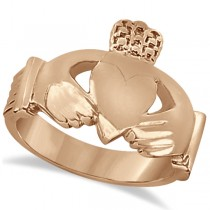 Authentic Irish Claddagh Heart Friendship Ring Band in 14k Rose Gold