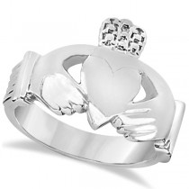 Authentic Irish Claddagh Heart Friendship Ring Band in 14k White Gold