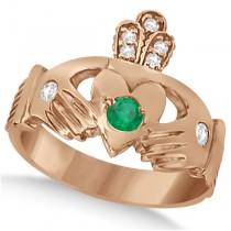 Diamond & Green Emerald Ring Claddagh Irish 14k Rose Gold (0.35ct)