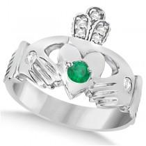 Diamond & Green Emerald Ring Claddagh Irish 14k White Gold (0.35ct)
