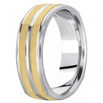 Square Wedding Band Carved Ring in 18k Two-Tone Gold (7mm)