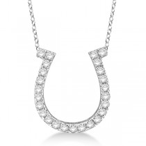 Diamond Horseshoe Pendant Necklace 14k White Gold (0.26ct)