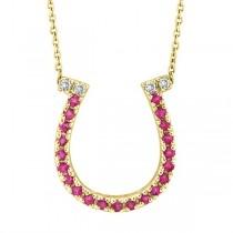 Pink Sapphire & Diamond Horseshoe Pendant 14k Yellow Gold (0.25ct)