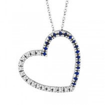 Diamond & Blue Sapphire Heart Pendant Necklace 14k White Gold (0.40ct)