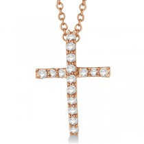 Diamond Cross Pendant Necklace in 14k Rose Gold (0.25ct)