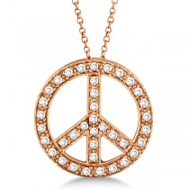 Diamond Peace Sign Pendant Necklace 14k Rose Gold (0.50ct)