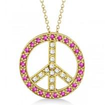 Diamond & Pink Sapphire Peace Pendant Necklace 14k Yellow Gold 0.92ct