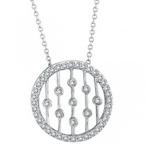 Bezel & Prong Set Diamond Circle Pendant 14k White Gold (1/2 ctw)