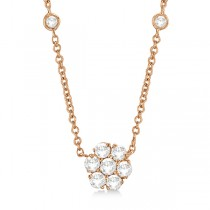 Flower Pendant Diamonds By The Yard Necklace 14k Rose Gold (2.50ct)