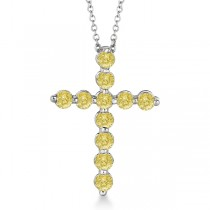Fancy Yellow Diamond Cross Pendant Necklace 14k White Gold (1.01ct)