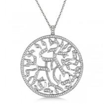 Shema Israel Jewish Diamond Pendant Necklace 14k White Gold (1.55ct)