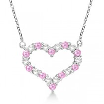 Open Heart Diamond & Pink Sapphire Necklace 14k White Gold (0.65ct)
