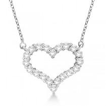 Open Heart Diamond Pendant Necklace 14k White Gold (0.50ct)
