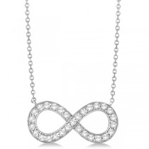 Pave Diamond Infinity Twist Pendant Necklace 14k White Gold (0.37ct)