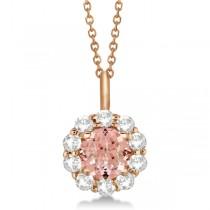 Halo Diamond and Morganite Lady Di Pendant Necklace 18k Rose Gold (1.69ct)