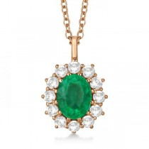 Oval Emerald and Diamond Pendant Necklace 14k Rose Gold (3.60ctw)