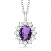 Oval Amethyst & Diamond Pendant Necklace 14k White Gold (3.60ctw)