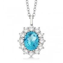 Oval Blue Topaz & Diamond Pendant Necklace 14k White Gold (3.60ctw)