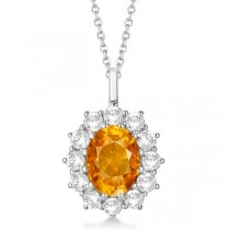 Oval Citrine and Diamond Pendant Necklace 14k White Gold (3.60ctw)